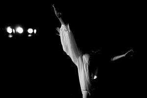 Stephanie Liapis black and white performance photo