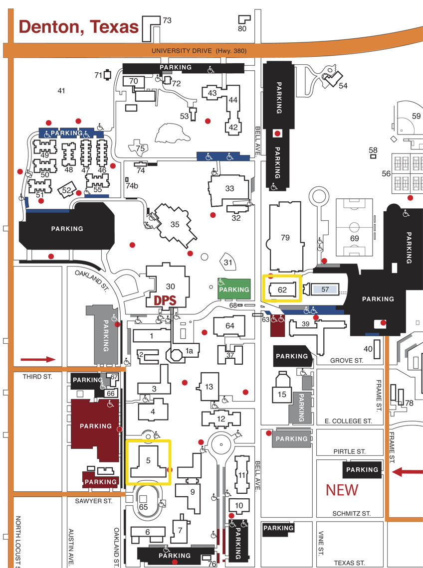 Map of the TWU Campus including Margo Jones Performance Hall and the Dance Studion Theater