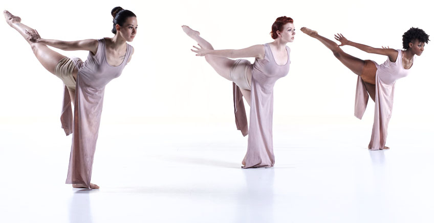 3 women in arabesque pose