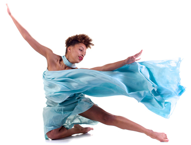 1 student dressed in blue leaping in the air