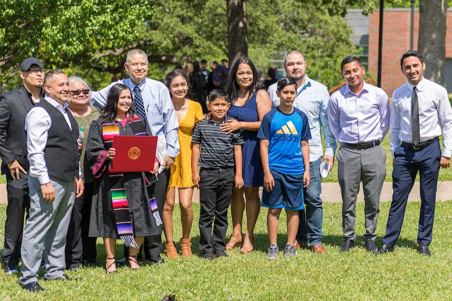 Students and their families enjoy graduation at Texas Woman's.