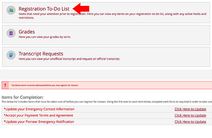 a screenshot of the registration to-do list link in the Pioneer Portal Web Advisor, with a red arrow pointing to the link