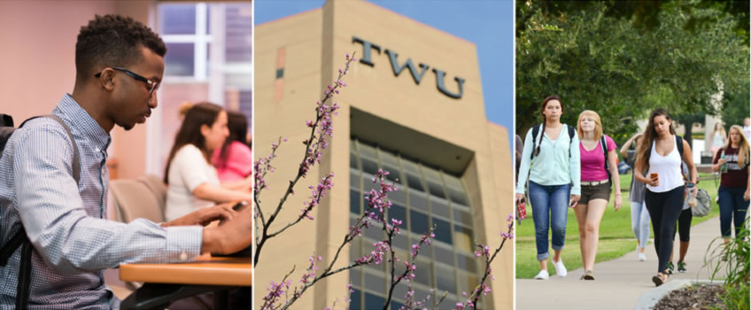 Collage of 3 images: Student, TWU Building; Students on TWU Campus