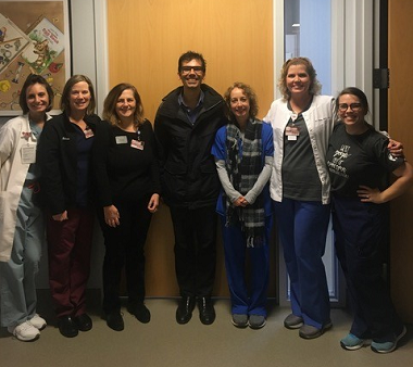 Dr. William Benner (center) with his Spanish interpretation class at TWU's simulation center in Dallas.