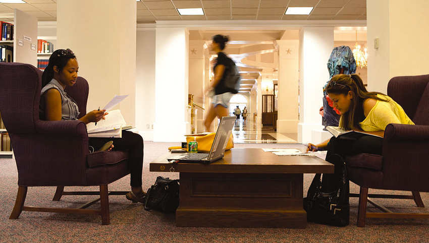 Students studying in the library.
