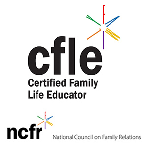 CFLE (Certified Family Life Educator) and NCFR (National Council on Family Relations) logos