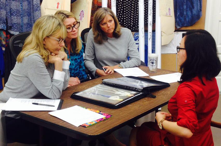 A TWU Fashion and Textiles student participates in a mock interview