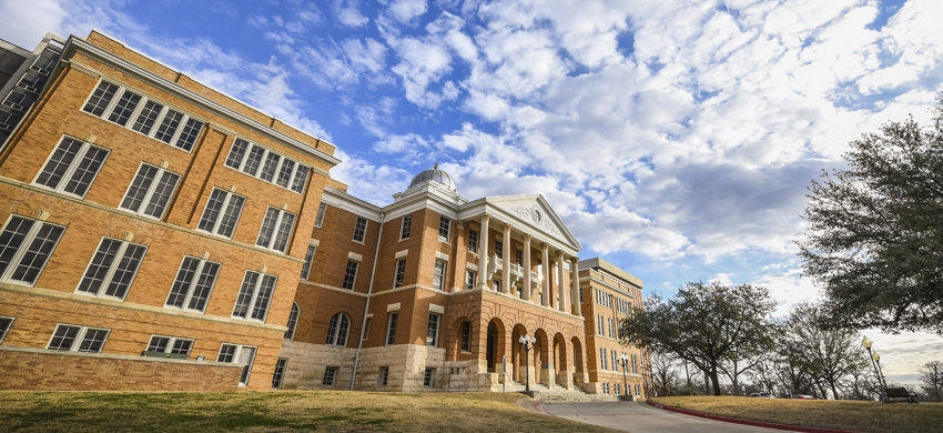 Historic Old Main Building on TWU's Denton campus.
