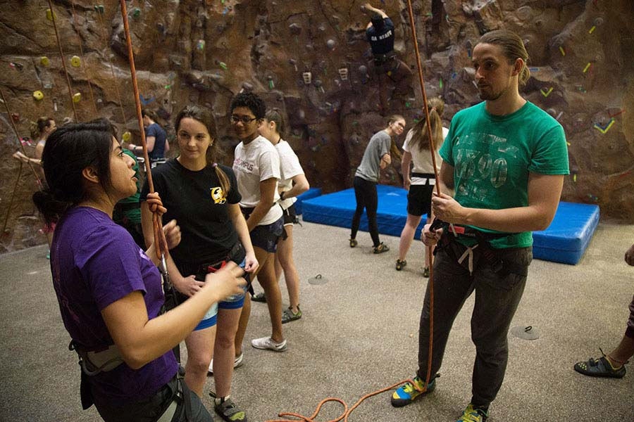 TWU Students at the Denton Fit and Rec Climbing Wall