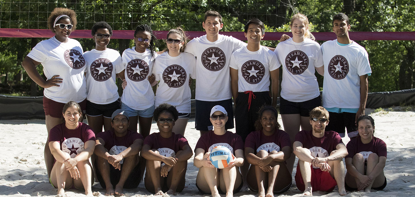 Intramural Volleyball Students, wearing shirts that say 'TWU Intramural All-Stars'