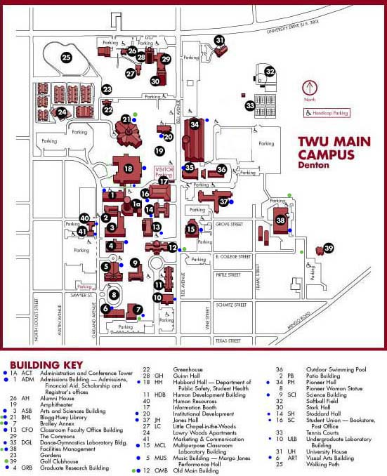 A map showing the various dumpster locations on the Denton TWU campus