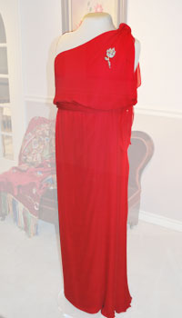 A floor length one-shoulder red silk chiffon gown with a flower broach on the shoulder.