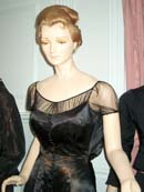 A slim fitting black gown is shown from the waist up. Sheer black fabric line the neck and shoulders