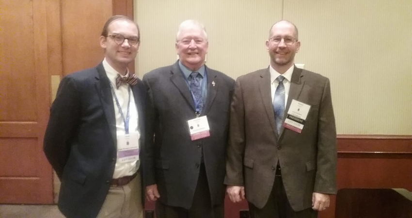 From left: Jake Blosser (TWU), Vice President; Graydon Tunstall (University of South Florida), Executive Director, Jochen Burgtorf (California State University, Fullerton) Outgoing President and Chairman of the Advisory Board.