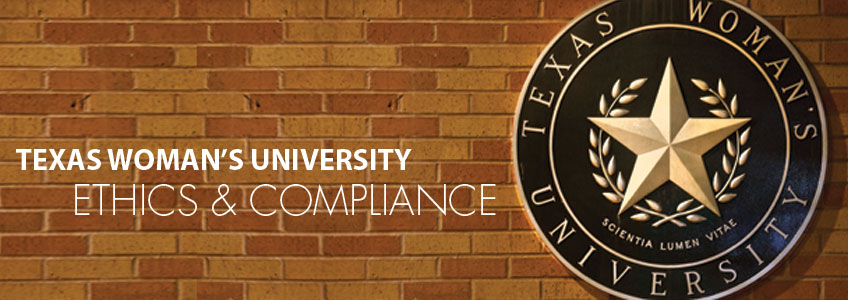 Ethics and Compliance Hotline banner with TWU seal on brick wall