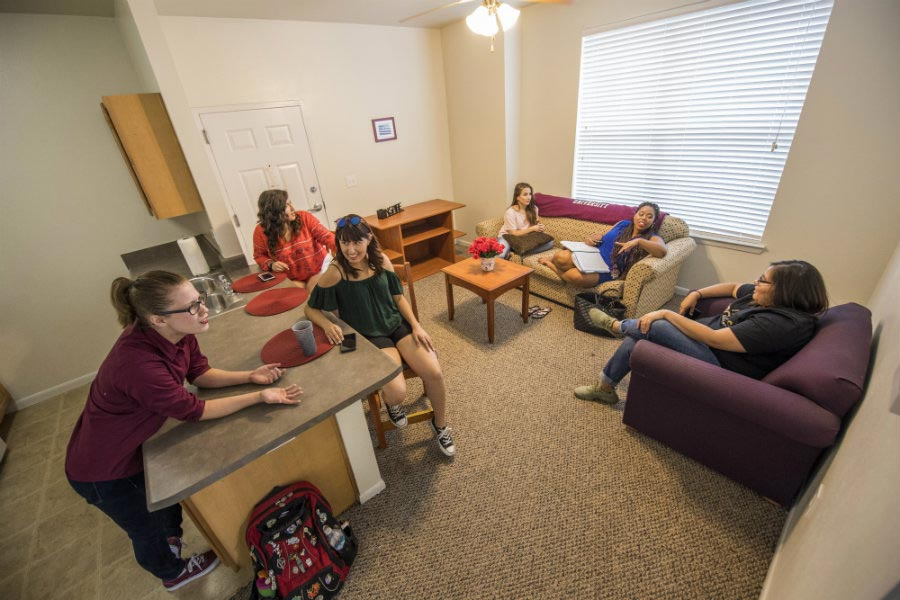 Several students in the living room of one of the Lowry Woods apartments