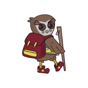 Owl with backpack and walking stick
