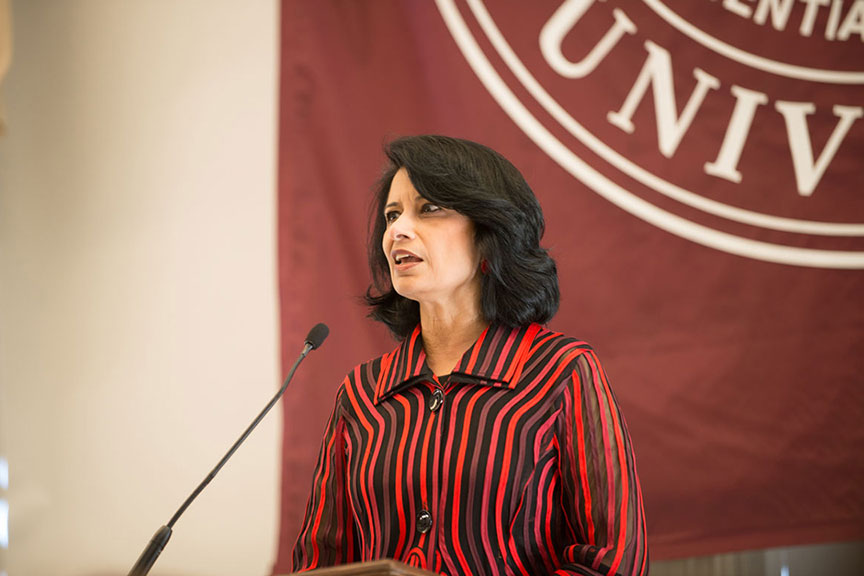 Dr. Renu Khator, Chancellor and President, University of Houston System, Houston, Texas speaks at the luncheon podium