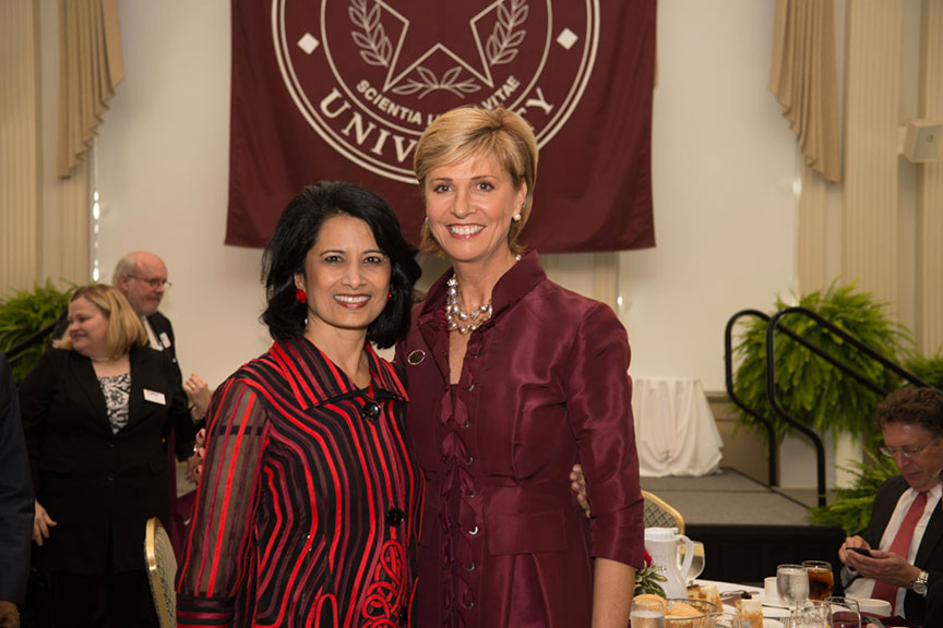 Chancellor Feyten and Dr. Khator pose together for a photo