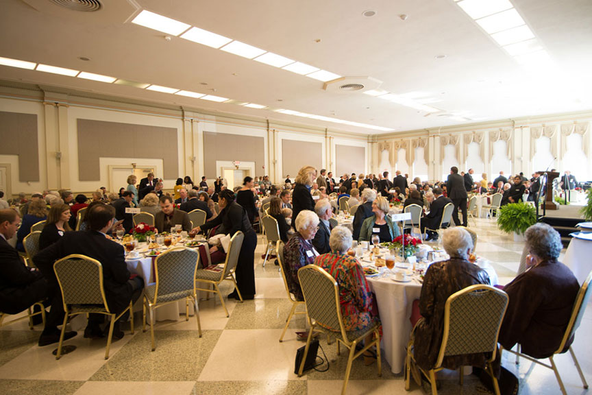 a photo of the luncheon hall with people seated