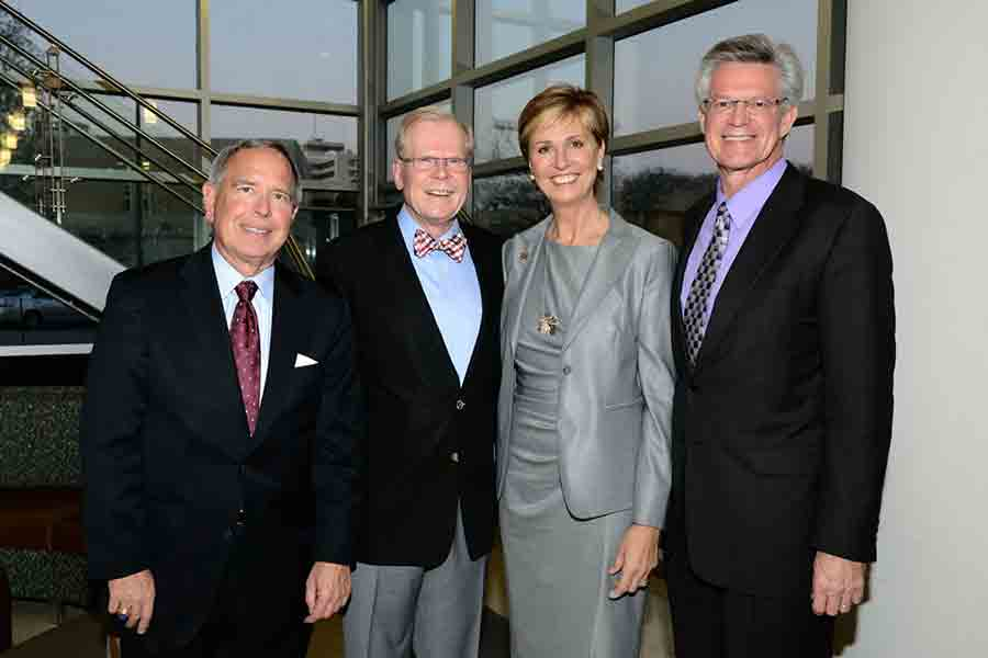 Steve Love, Chad Wick, Chancellor Feyten, and Dr. Stephen Mansfield