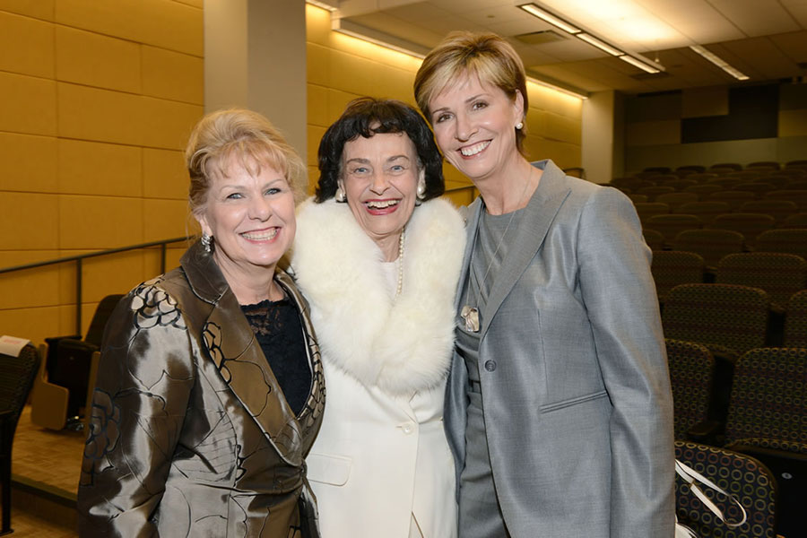 Patricia Crocker, Virginia Chandler Dykes, and Chancellor Carine M. Feyten