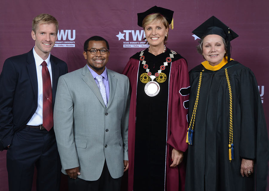 Chancellor Feyten with Christopher Johnson, Landon Dickerson, and Lizbeth Spoonts