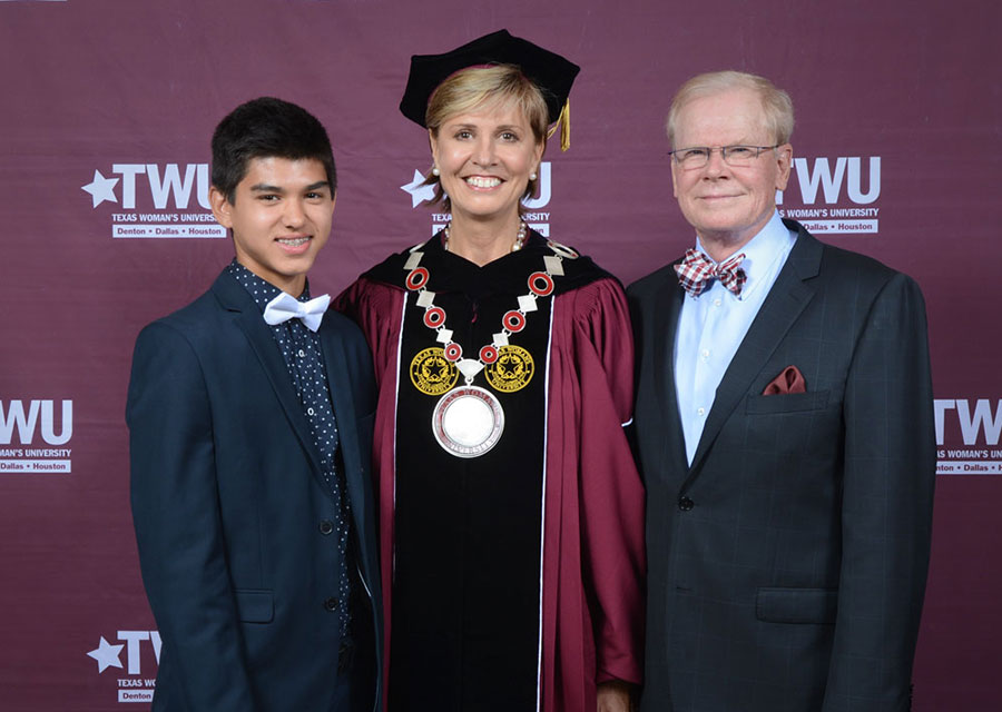 Chancellor Feyten with her husband Chad Wick and their son
