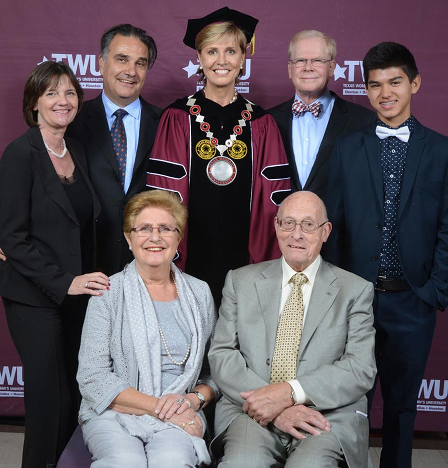 Chancellor Feyten and Chad Wick with their son and their parents