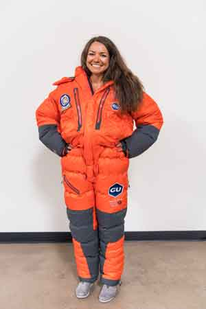 Roxanne Vogel in her high altitude climbing suit.