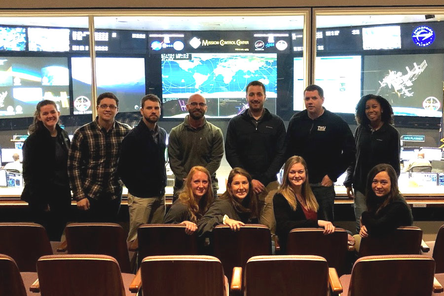 Group of TWU students at NASA Mission Control in Houston