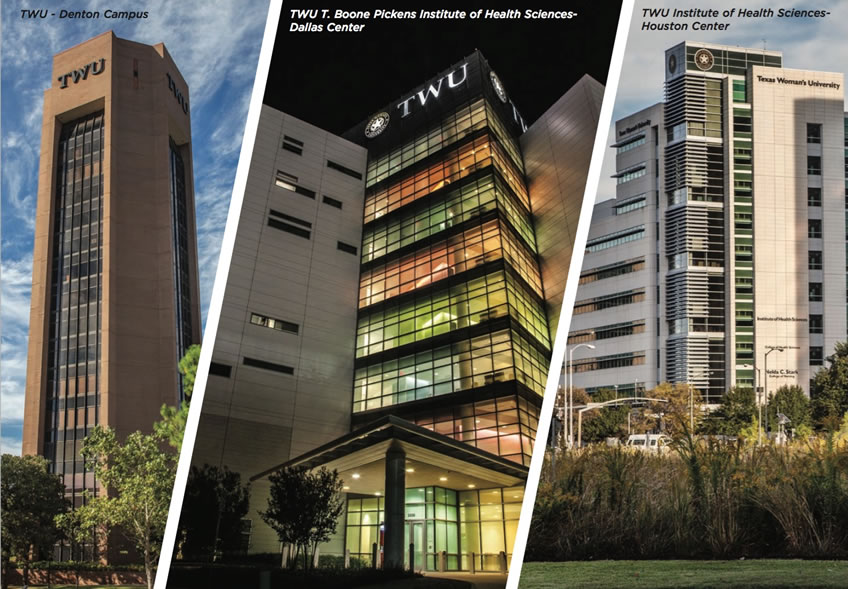 Collage of three photos, one of each of the three TWU campuses: TWU Denton, TWU Dallas, and TWU Houston