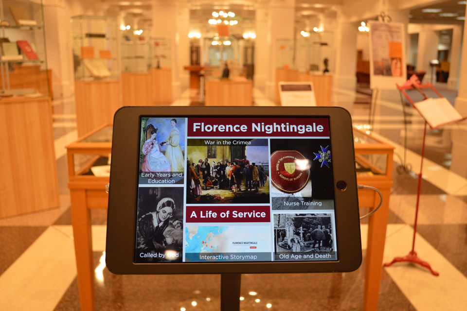 iPad displaying a Florence Nightingale digital exhibit