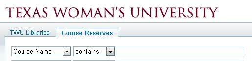 A screenshot of the library website link to the Course Reserves page