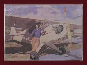 Card with printed painting of a woman in front of plane