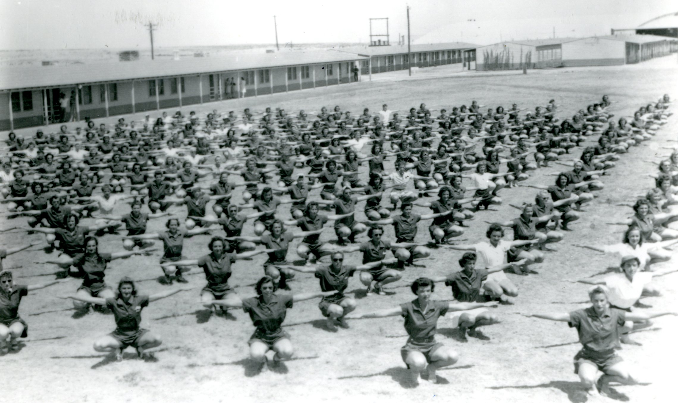 A large group of WASP doing calisthenics