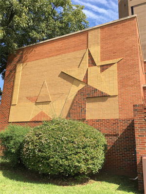Brick mural on the exterior of the Arts and Sciences Building