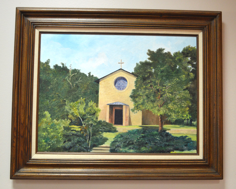 Oil painting of the Little Chapel-in-the-Woods by R. Carter
