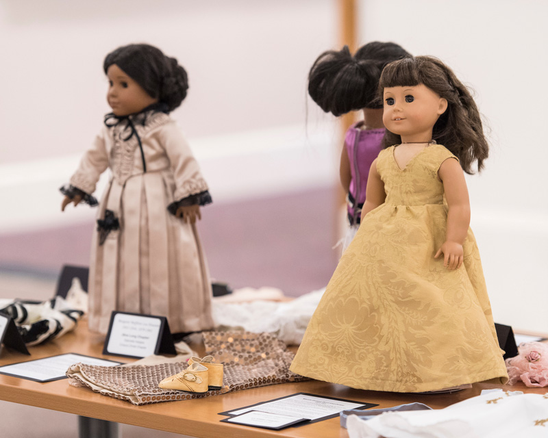 American Girl dolls dressed in First Ladies of Texas Historic gowns.
