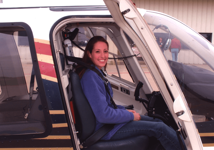 Patricia Boyer (WG #1206) in a helicopter