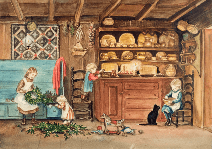 Painting of Children at Christmastime