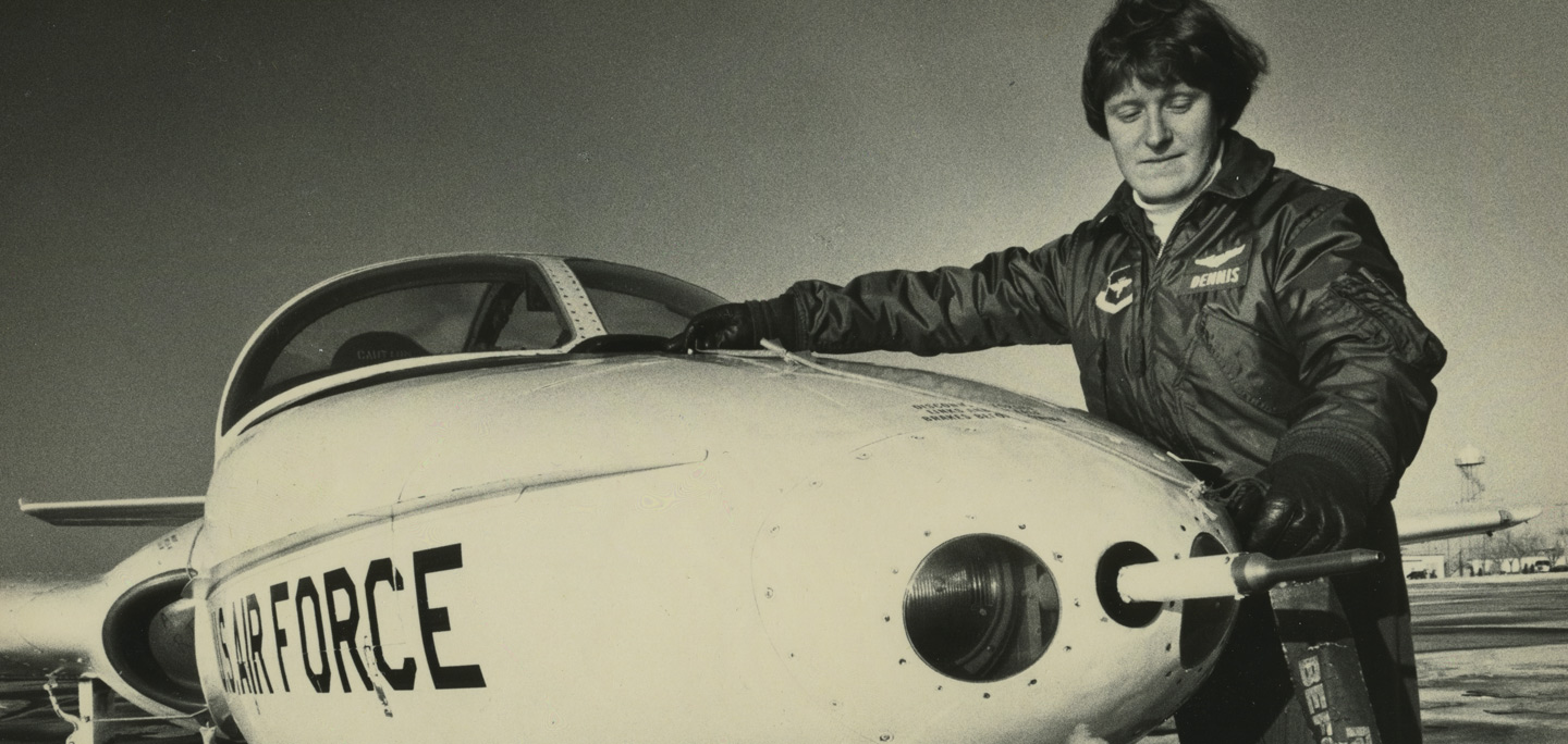 Margaret Dennis Carnahan beside US Air Force aircraft, Vance Airforce Base.