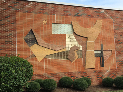 Mural on the exterior of the Library Science building