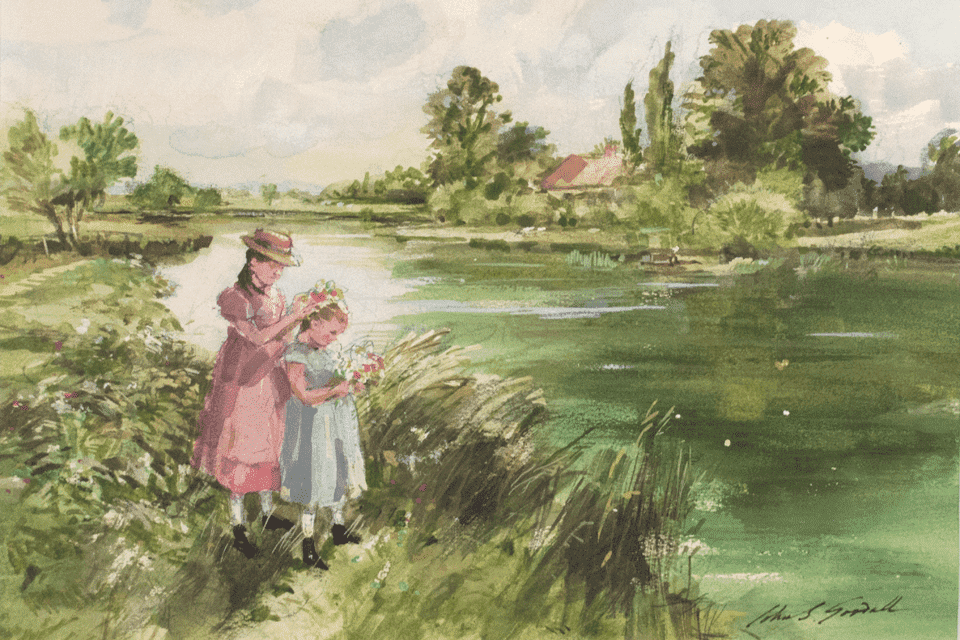 painting of children in field