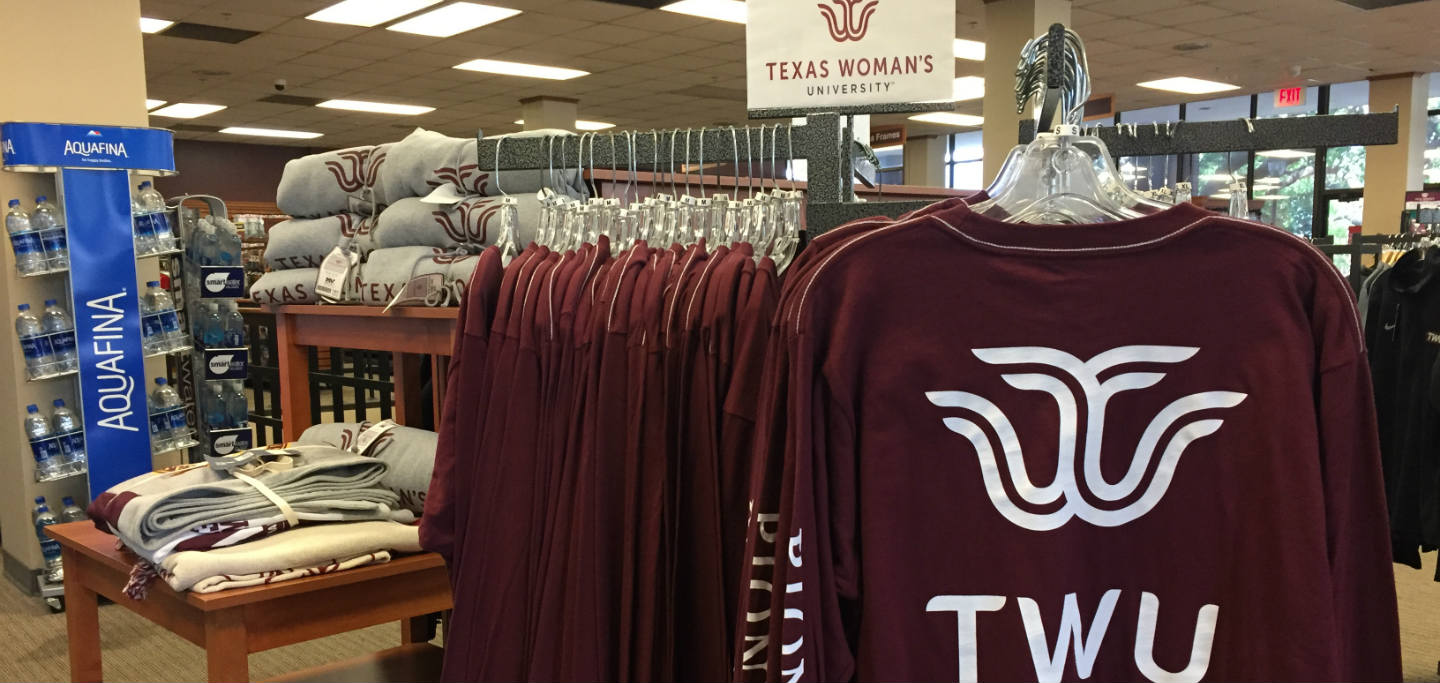 A view of t-shirts and other items carrying the TWU logo on them