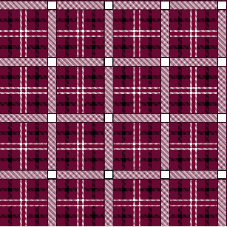 A swatch of maroon, black and white plaid.