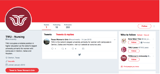 Screenshot of Twitter account page