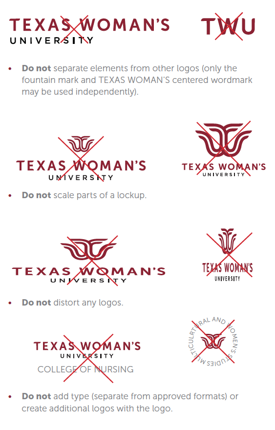 Examples of what not to do with new TWU logo