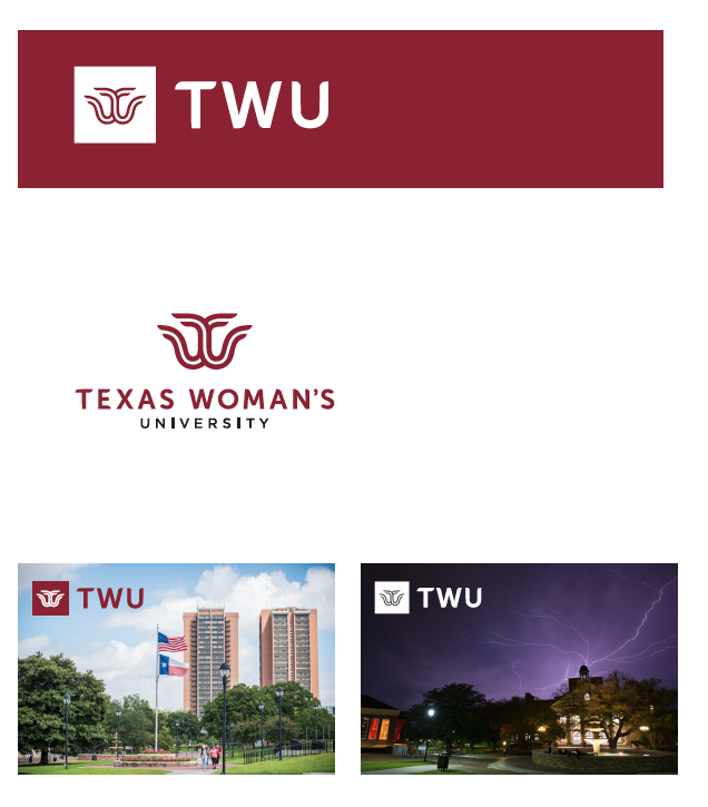 Examples of how to use the new TWU logo