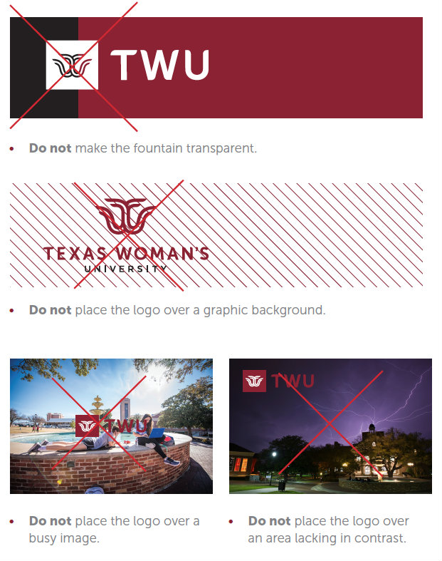 examples of what not to do with the new TWU logo